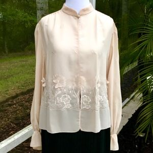 Tops - Vintage sheer cream embroidered shirt